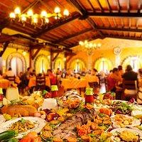 La sala ristorante di Villa Dafne