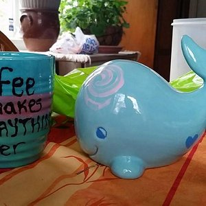 My coffee cup and my sister's whale, not bad for a 1st time!