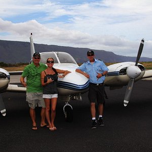Some of our happy customers after their tour in our Maui-based Piper Seneca II.