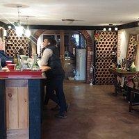 Tasting bar with Sandbanks Vacations guests and owner Joni