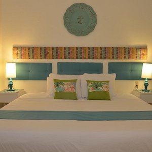 The bedroom shown with a king size bed.