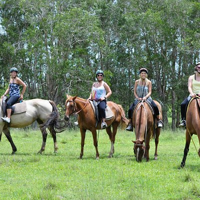 horse riding with friends