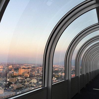 久留米市を見るなら、市役所の展望台で見るのはどうでしょうか。20階にエレベーターで上がると喫茶店があり、その奥の通路が展望台です。私が見れたのは1方向だけでしたが、それでも充分、久留米市内が見