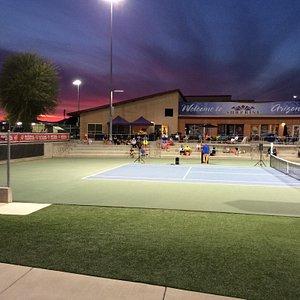 Beautiful center court at sunset