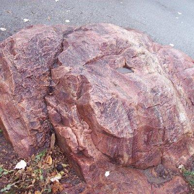 red granite boulder