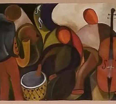 A Jam session pela pintora Dina Vidal