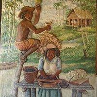Painel demonstrando o preparo do açaí.