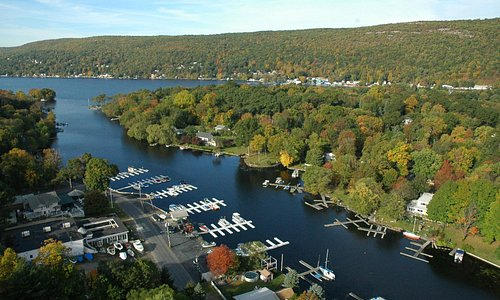 Arial of Greenwood Lake's East Arm (where the Waterstone Inn is located)