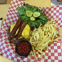American burger with fries