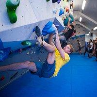 Climber in action at VauxWall
