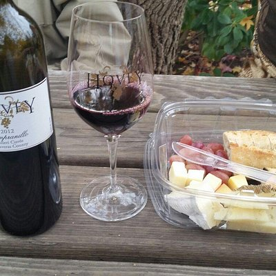 Nice Tempranillo and artisan cheese plate to enjoy in the picnic area at the tasting room