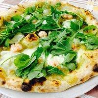 Crema di asparagi rucola e gamberetti (solo alla pizzeria da mimì)