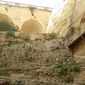 The alternate zig zag path up the rock
