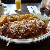 Feta Omelet Sprinkled with Hot Sauce at Golden Diner