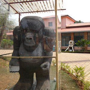 the Gorilla sculpture in front of Richard Kandt museum