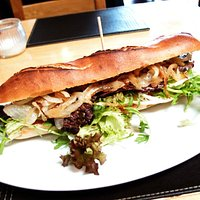 Chargrilled steak and onion baguette