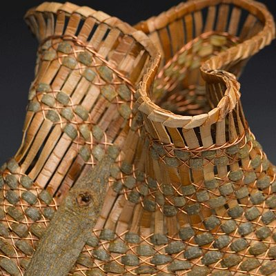 Sculptural Bark and Wire Basket