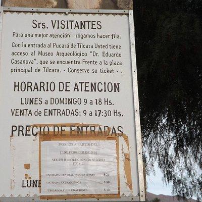 """La tarifa de """"Pucará de Tilcara"""" incluye la entrada del Museo."""