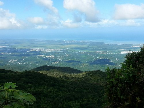 View of city and ocean from El Yunque peak