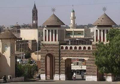 Enda Mariam and bell tower of Catholic Cattedrale and minaret of Great Mosque