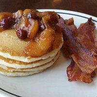 Apple Cranberry Pancakes (it came with bacon)