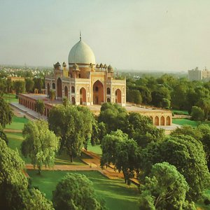 An aerial view of Humayun tomb with surrounding gardens.