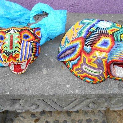 Handcrafted art...Huichol indian jaguar heads