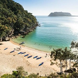 Resolute Bay, the secluded beach we land at with views towards Barrenjoey and Palm Beach.