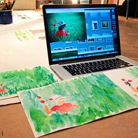 Painting after an image with right hand, left hand, or leg (Art Therapy)