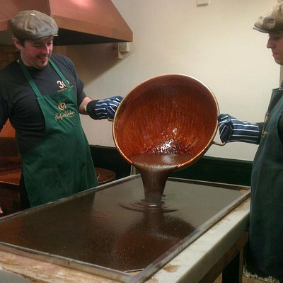 The fudge being poured