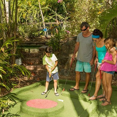 Mini Golf in a tropical setting