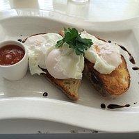 Free range poached eggs.