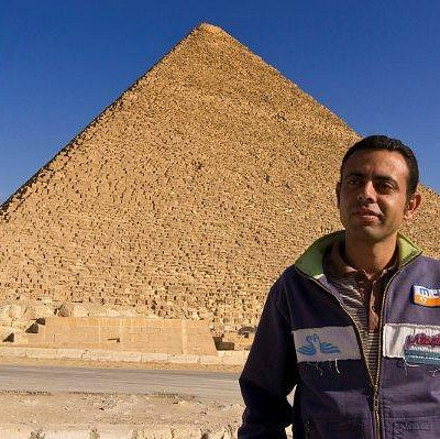 Amru Vawzy infront of the Great Pyramid