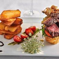 Steak sandwich and homemade chips