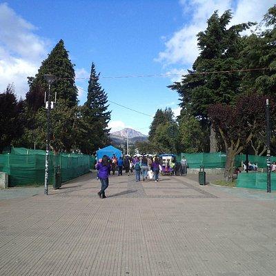 Coyhaique, Chile, Plaza de Armas. Plaza en reparación.