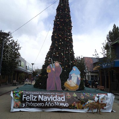 Coyhaique, Chile, Peatonal Horn. Arbolito en Navidad.