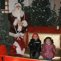 Our Grandchildren try out Santa's Sleigh!