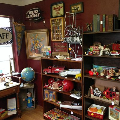 Red room with vintage toys and games
