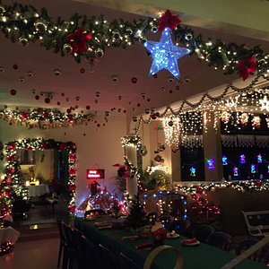 A house decorated on Christmas Eve