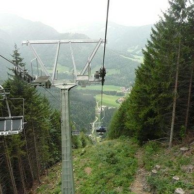 View half way down chair lift