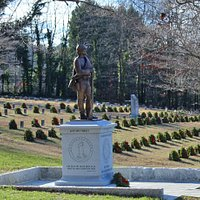 Confederate statue with grave markers and wreaths in background