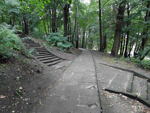 Тропинка и лестница на гору