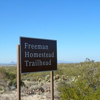 Sign and the desert scenery