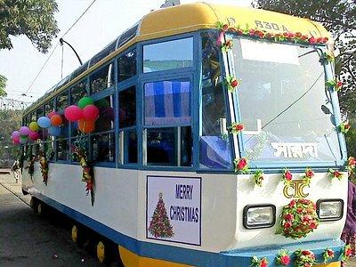 Kolkata Tram Ma Sarada on Christmas Joy Ride