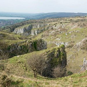 Cheddar Gorge view towards Brent Knoll
