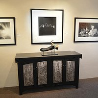 """""""Credenza"""" by David Mapes shown with Bloom by David Patchen and Beatles prints by Mike Mitchell"""