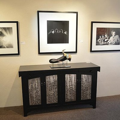 """Credenza"" by David Mapes shown with Bloom by David Patchen and Beatles prints by Mike Mitchell"