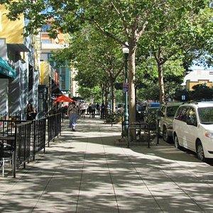 View of downtown sidewalk