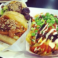 Chicken and short rib Koja with Kamikaze Fries