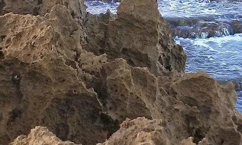 Sharp rocks near the water